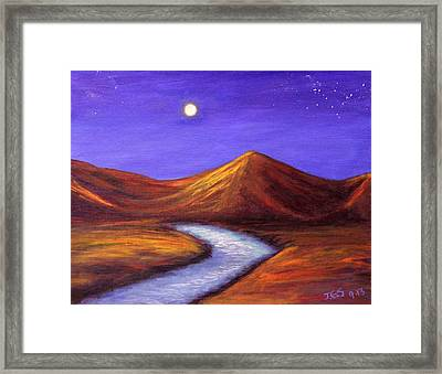 Moon And Cygnus Framed Print by Janet Greer Sammons