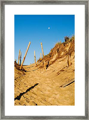 Moon And Dunes Framed Print
