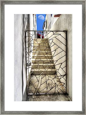 Moon And Gate Framed Print by Chuck Staley