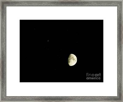 Moon And Jupiter Framed Print