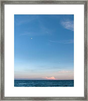 Moon And Pink Cloud Framed Print by Michelle Wiarda