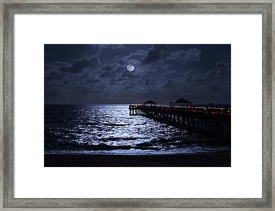 Moon And Sea Framed Print by Laura Fasulo