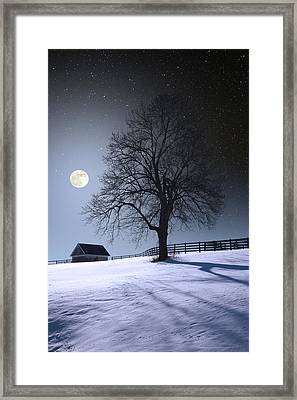 Framed Print featuring the photograph Moon And Snow by Larry Landolfi