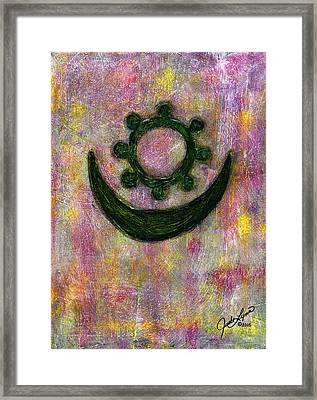 Moon And Star Framed Print