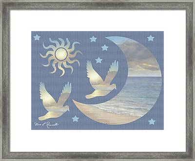 Moon And Stars Framed Print