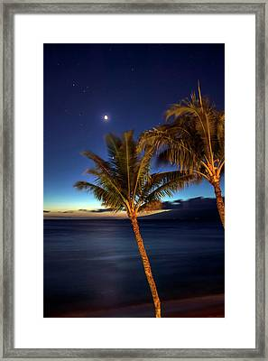 Moon And Stars In The Night Sky Framed Print by Scott Mead