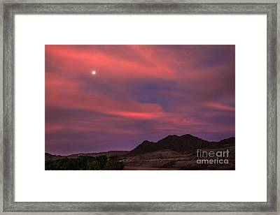Moon And Sunrise Framed Print by Robert Bales