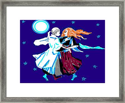 Moon And The Couple Framed Print