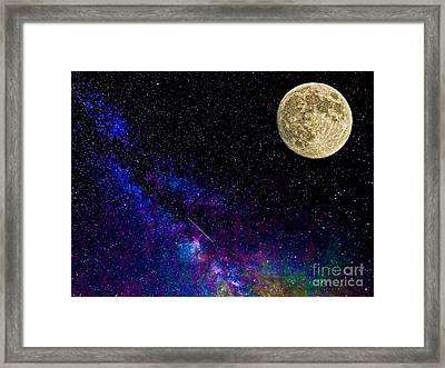 Moon And The Milkyway Compilation Photo Framed Print by Robert Neiszer
