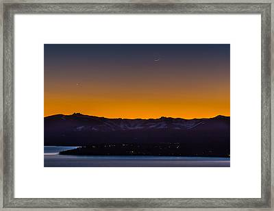 Moon And Venus Above Lake Tahoe Framed Print by Marc Crumpler