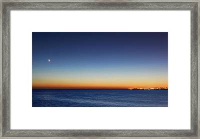 Moon And Venus At Sunrise Framed Print by Luis Argerich