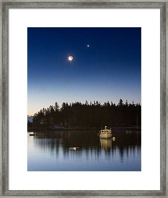 Moon And Venus Over Five Islands Framed Print by Benjamin Williamson