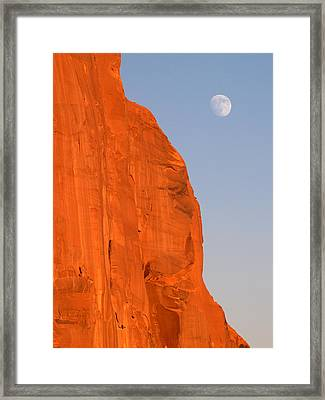 Moon At Monument Valley Framed Print