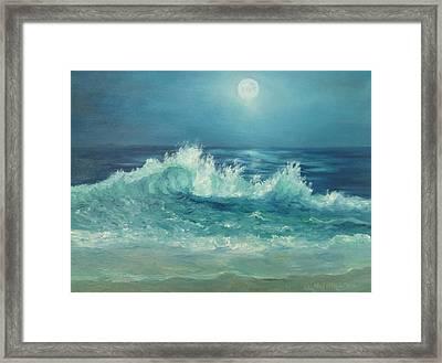 Moon Beach Painting Framed Print