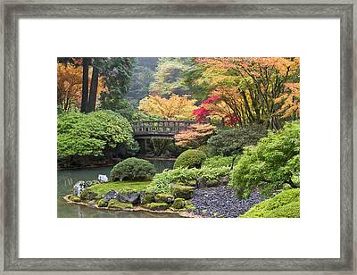 Moon Bridge And Autumn Colors, Portland Framed Print by William Sutton