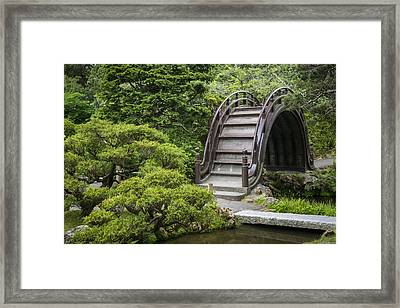 Moon Bridge - Japanese Tea Garden Framed Print by Adam Romanowicz