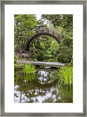 Moon Bridge Vertical - Japanese Tea Garden Framed Print by Adam Romanowicz