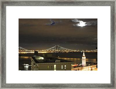 Moon Burst Over San Francisco Oakland Bay Bridge Framed Print by Ron McMath