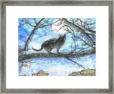 Moon Cat Framed Print