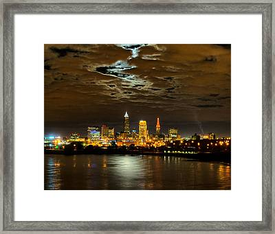 Moon Clouds Over Cleveland Framed Print
