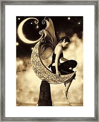 Moon Fairy Sepia Framed Print