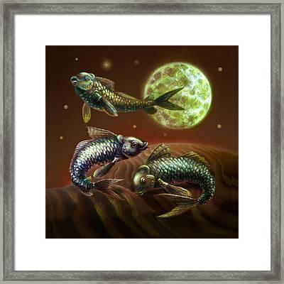 Moon Fish Pillow Framed Print