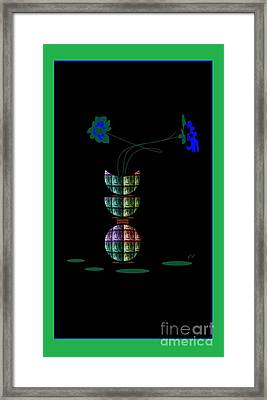 Framed Print featuring the digital art Moon Flower 1 by Ann Calvo