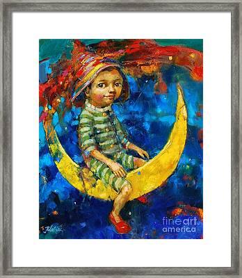 Moon Fun Framed Print by Michal Kwarciak