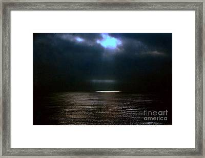 Moon Glow Over The Gulf Of Mexico Framed Print by Michael Hoard