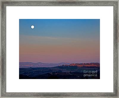 Moon Hanging Over Montepulciano, Italy Framed Print by Tim Holt