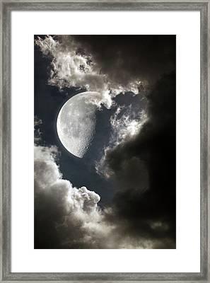 Moon In Cloudy Sky Framed Print by Detlev Van Ravenswaay