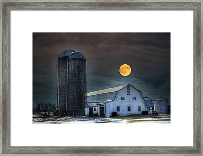 Moon Light Night On The Farm Framed Print by David Simons