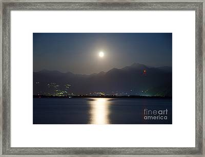 Moon Light Over A Lake Framed Print by Mats Silvan