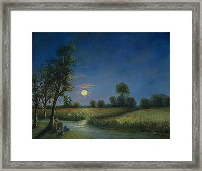 Moonlight Poppies In Argenteuil  Framed Print by Cecilia Brendel