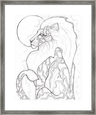 Moon Lion Sketch Framed Print by Coriander  Shea