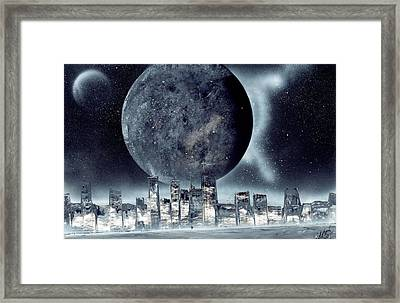 Moon Lit City Framed Print by Marc Chambers