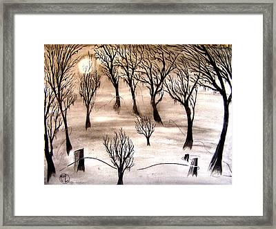 Moon Lit Fog Framed Print by Justin Moore