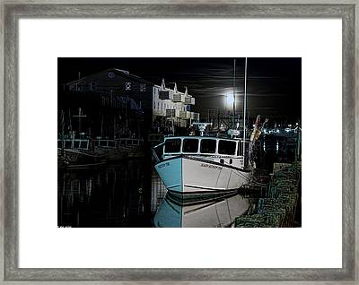Framed Print featuring the photograph Moon Lit Harbor by Richard Bean