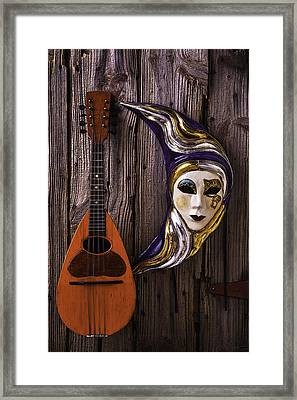 Moon Mask And Mandolin Framed Print by Garry Gay