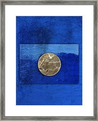 Moon On Blue Framed Print by Carol Leigh