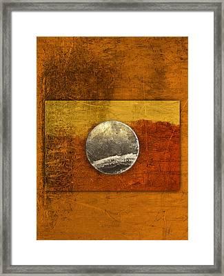 Moon On Gold Framed Print by Carol Leigh