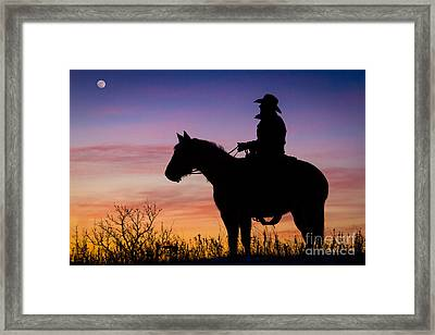 Moon On The Range Framed Print by Inge Johnsson