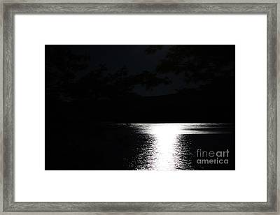 Framed Print featuring the photograph Moon On Waterton Lake by Ann E Robson