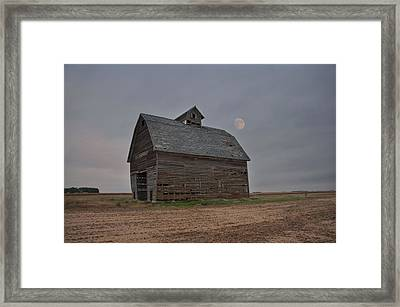 Moon Over Abandoned Iowa Corn Crib Framed Print