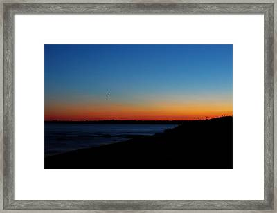 Moon Over Aquidneck Island Framed Print by Andrew Pacheco