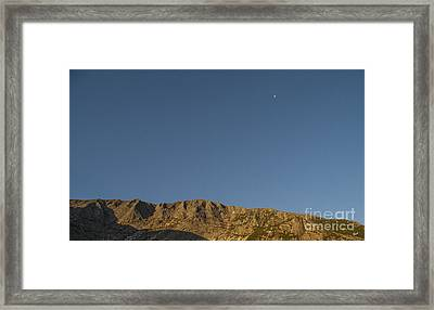 Moon Over Baxter Peak Framed Print by Alana Ranney