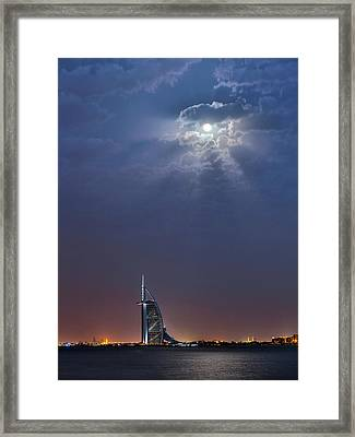 Moon Over Burj Al Arab Hotel Framed Print