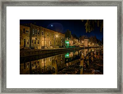 Moon Over Canal Framed Print by Everet Regal