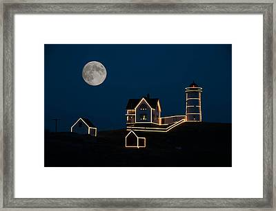 Moon Over Cape Neddick Framed Print by Guy Whiteley