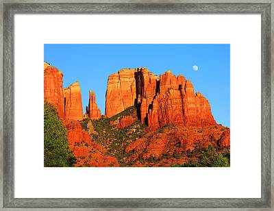 Framed Print featuring the photograph moon Over Cathedral by Tom Kelly